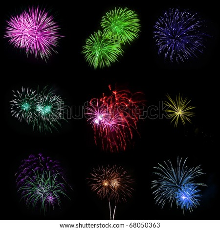 Collection of Multicolored Fireworks Against a Black Sky - stock photo