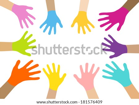 Collection of multicolored hands . Illustration format.