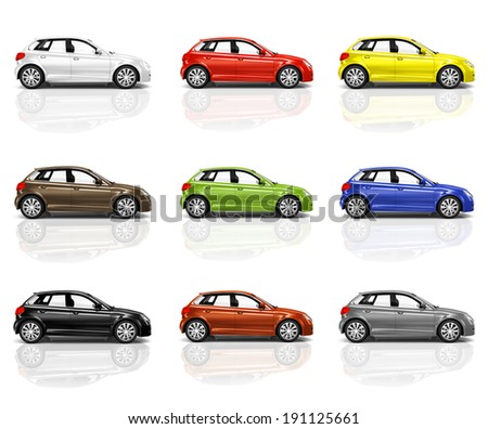 Collection of Multicolored New Modern Cars - stock photo
