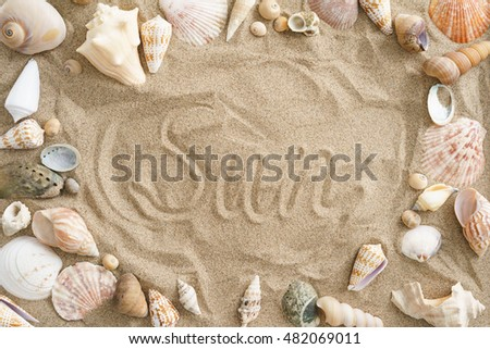 Collection of mussels in the sand with the word sun in the center