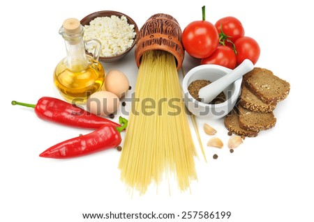collection of natural products isolated on a white background - stock photo