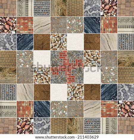 collection of natural stones, mosaic pattern - stock photo