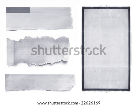 Collection of newspaper banners and tears, isolated on white. - stock photo