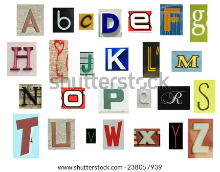 Collection of newspapers, magazines, letters, graffiti and more - stock photo
