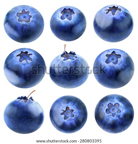 Collection of nine blueberries isolated on white background, with clipping path - stock photo