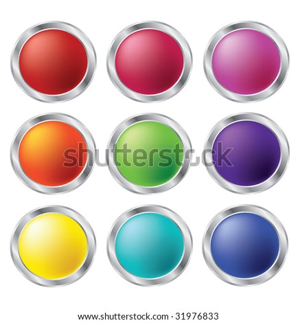 Collection of nine matt buttons in different rainbow colors