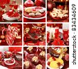 Collection of nine still live photos for Christmas in red - stock photo