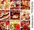 Collection of nine still live photos for Christmas in red and golden tone - stock photo