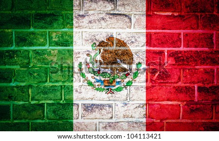 Collection of North America flag on old brick wall texture background, Mexico - stock photo