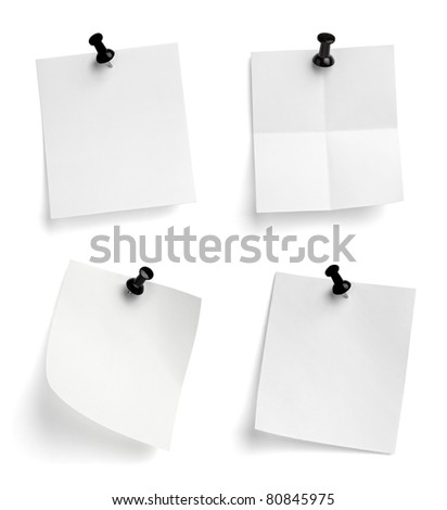 collection of note papers with push pins on white background. each one is shot separately