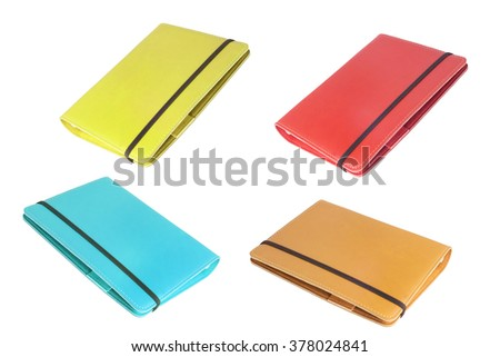 collection of notebook, isolated over white background - stock photo