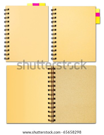 Collection of notebook office supply stationary isolated on white background