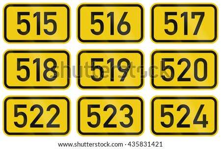 Collection of Numbered highway shields of German Bundesstrassen (Federal roads).