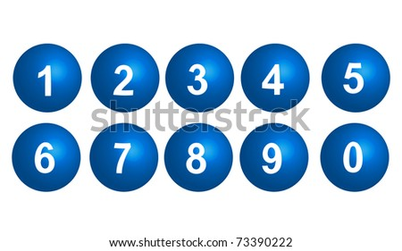 collection of numbers - blue spheres - stock photo