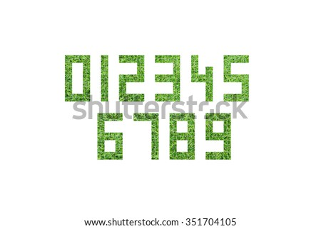 Collection of numbers. Numbers set from 1 to 0 made from green grass. Green number, one, two, three, four, five, six, seven, eight, nine, zero. - stock photo