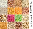 collection of nuts and dried fruits - stock photo