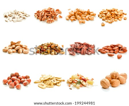 Collection of nuts and dried fruits on white background - stock photo