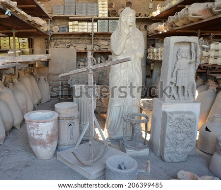 Collection of objects found during excavations in ancient Pompeii, Italy - stock photo