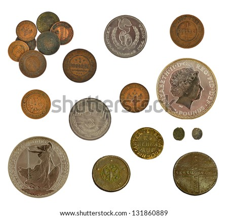 collection of old and new coins isolated on white - stock photo