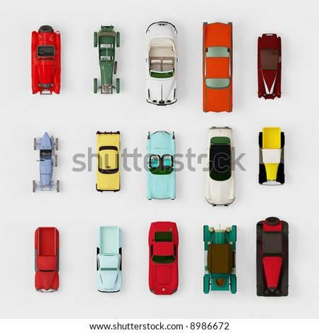 Collection of old cars, top view - stock photo
