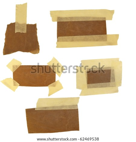 collection of old carton labels and adhesive tape (paper reminder) isolated on white background - stock photo