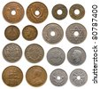 collection of old coins (africa and british north borneo) - stock photo