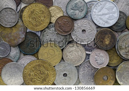 Collection of old coins from around the world.