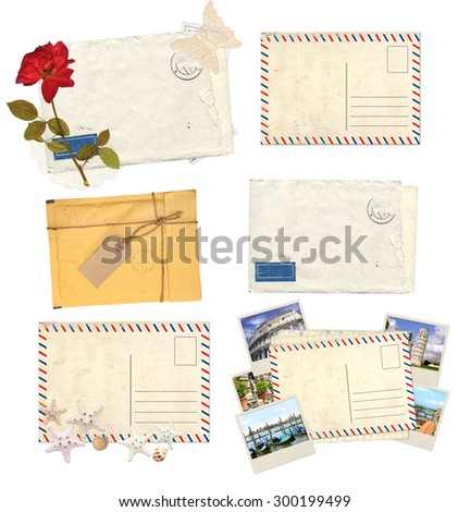 Collection of old envelopes with label, retro postcards for scrapbooking design. Isolated on white background - stock photo
