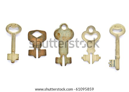Collection of Old Keys on white background