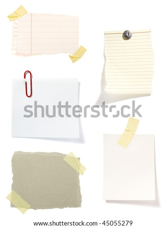 collection of old note paper  on white background. each one is in full cameras resolution