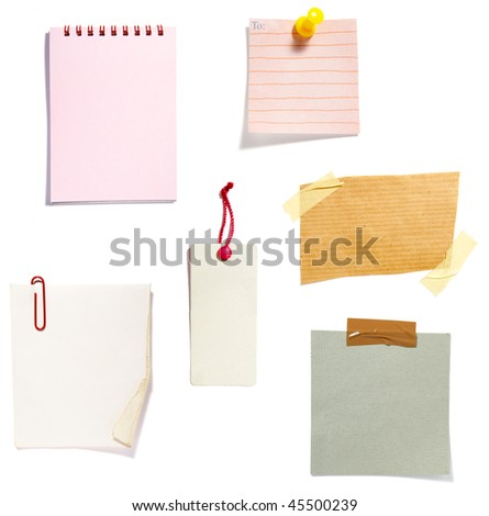collection of old note paper  on white background. each one is in full cameras resolution - stock photo