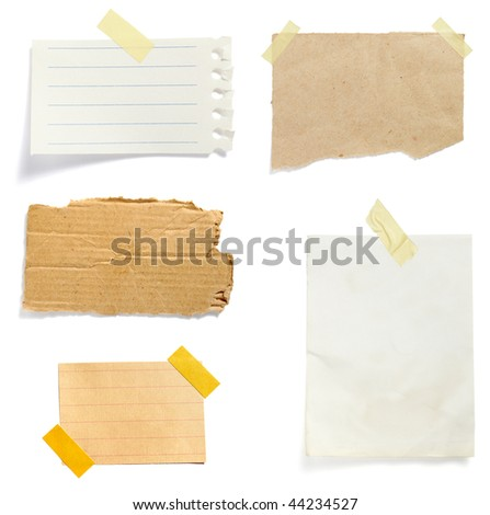 collection of old note paper paper on white background. each one is in full cameras resolution - stock photo