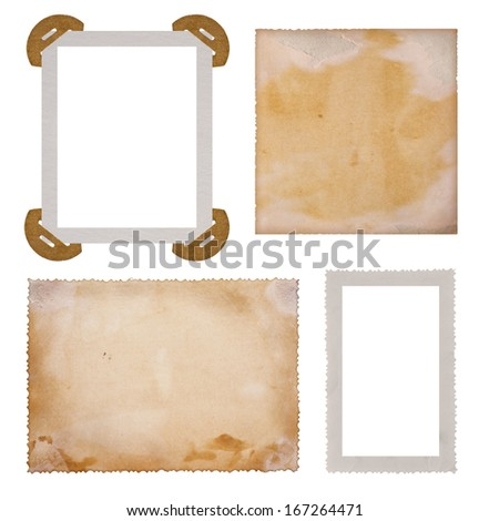 Collection of old photo paper frames - stock photo