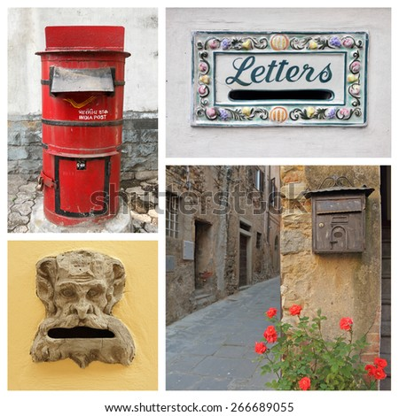 collection of old postboxes, images from India, Malta and Italy - stock photo