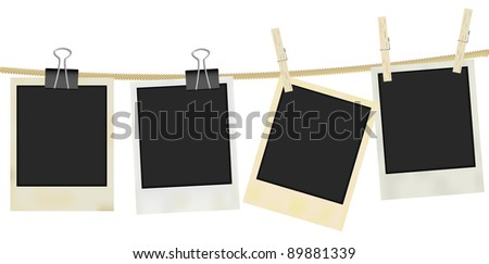 Collection of Old Retro Blank Photo Frames Hanging on Rope - Isolated on White - stock photo
