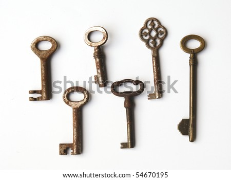 Collection of old rusty keys - stock photo