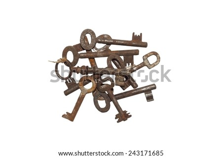 collection of old rusty keys, isolated on white - stock photo