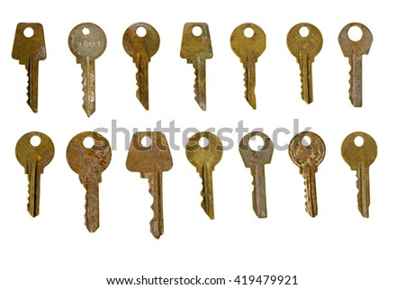 Collection of old rusty keys isolated on white background, retro set.