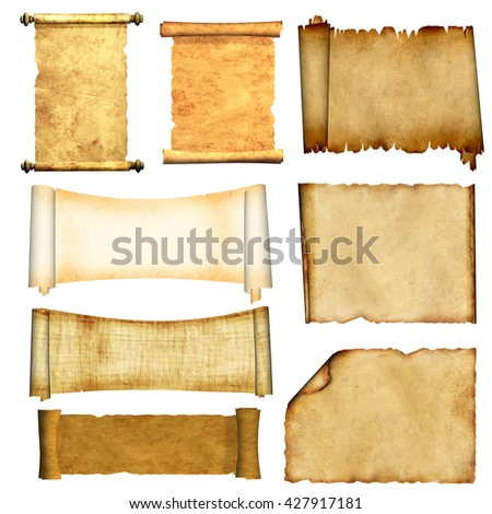 Collection of old scrolls and parchments. Isolated on white background. 3d render - stock photo