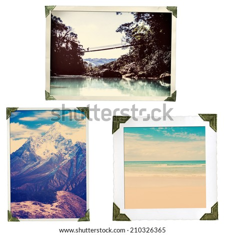 Collection of old style adventure travel photos in photo corners and edges isolated on white in high resolution - stock photo
