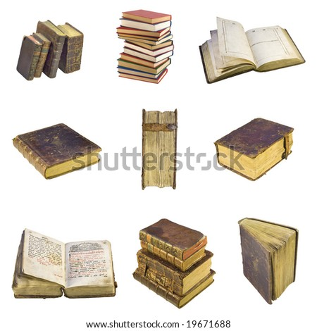 Collection of Old-time books isolated on white background - stock photo