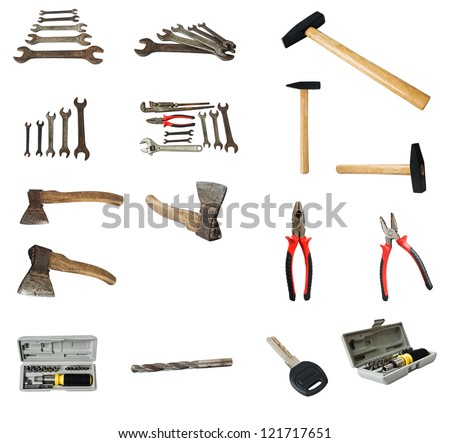 collection of old tools on white background