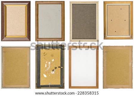 collection of old used picture frames with different backgrounds, isolated on white - stock photo