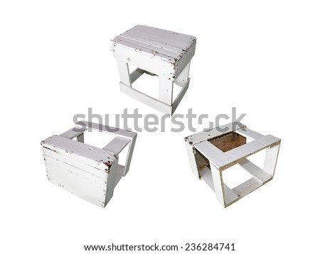 Collection of old white wooden chair on a white background. - stock photo