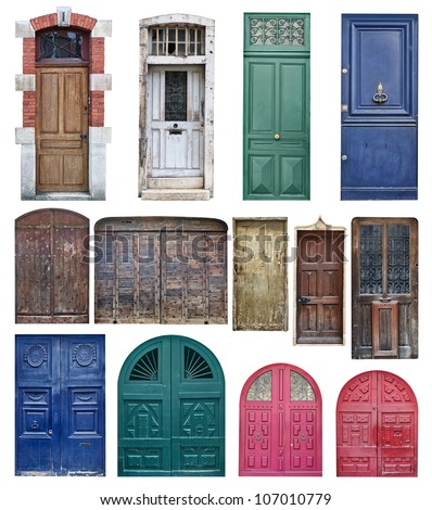 Collection of old wooden doors isolated on white - stock photo