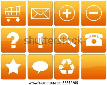 Collection of orange glossy web icons. - stock photo