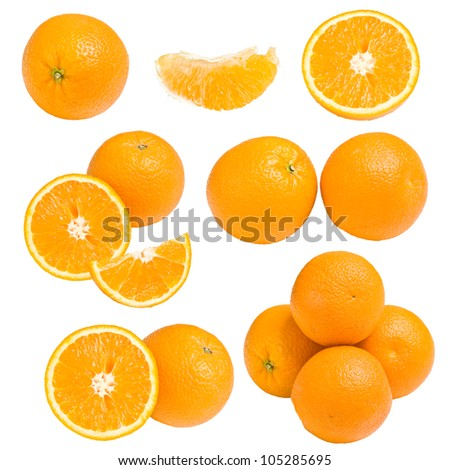 Collection of orange, isolated on white background - stock photo