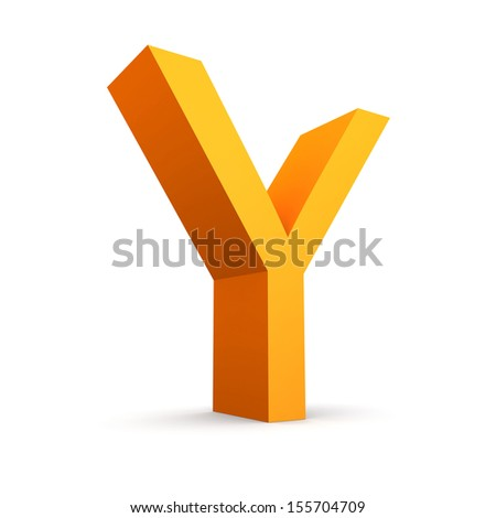 Collection of orange letters on a white background
