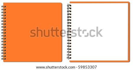 collection of orange sketch book - stock photo