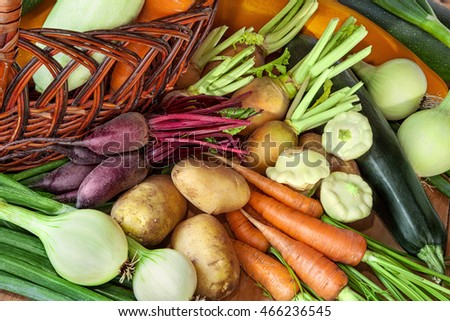 Collection of organic vegetables background / vegetable basket